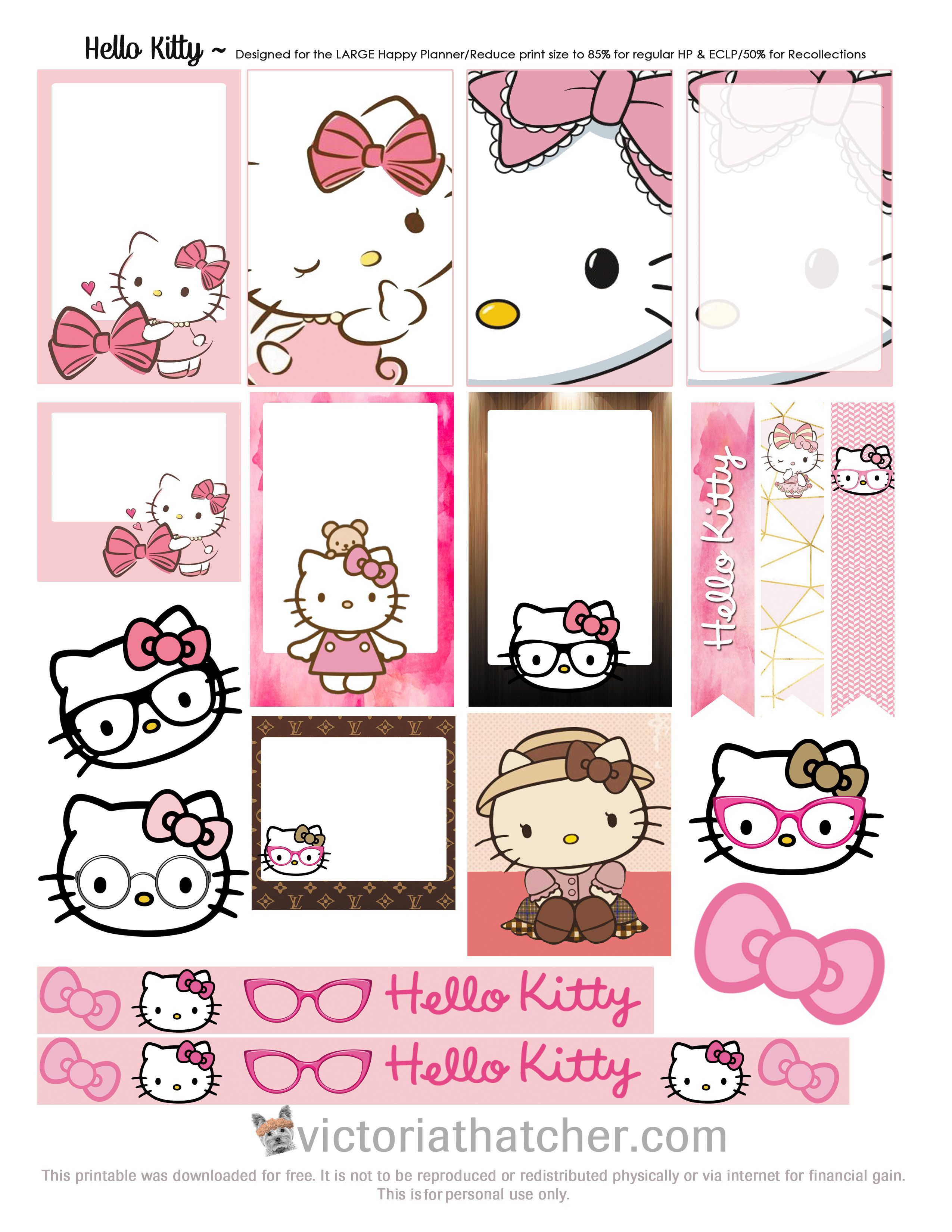 free printable hello kitty planner stickers from victoria thatcher