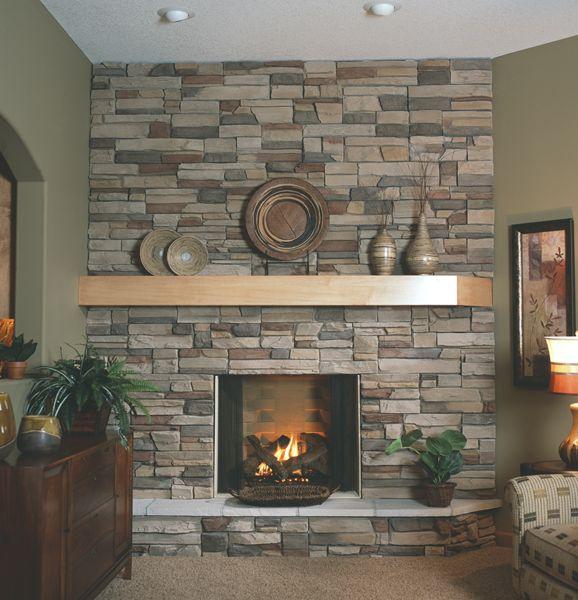Pine Brook Boulder Mountain Residence Living Room: Boulder Creek Stone - Western Ledgestak Mustang