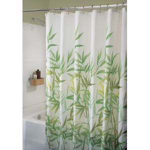 Interdesign Green Bamboo Shower Curtain Curtains For My Gray And Yellow Bathroom