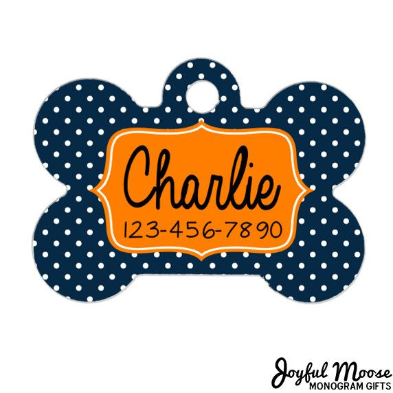 New to JoyfulMoose on Etsy: Pet ID Tag - Custom Pet ID Tag - Polka Dot Pet ID Tag for Dog - Bone Pet id Tag (9.75 USD)