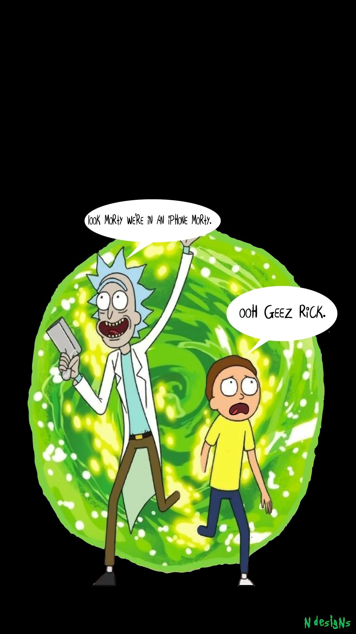 Download Rick And Morty Wallpaper Fresh Green Portal Top