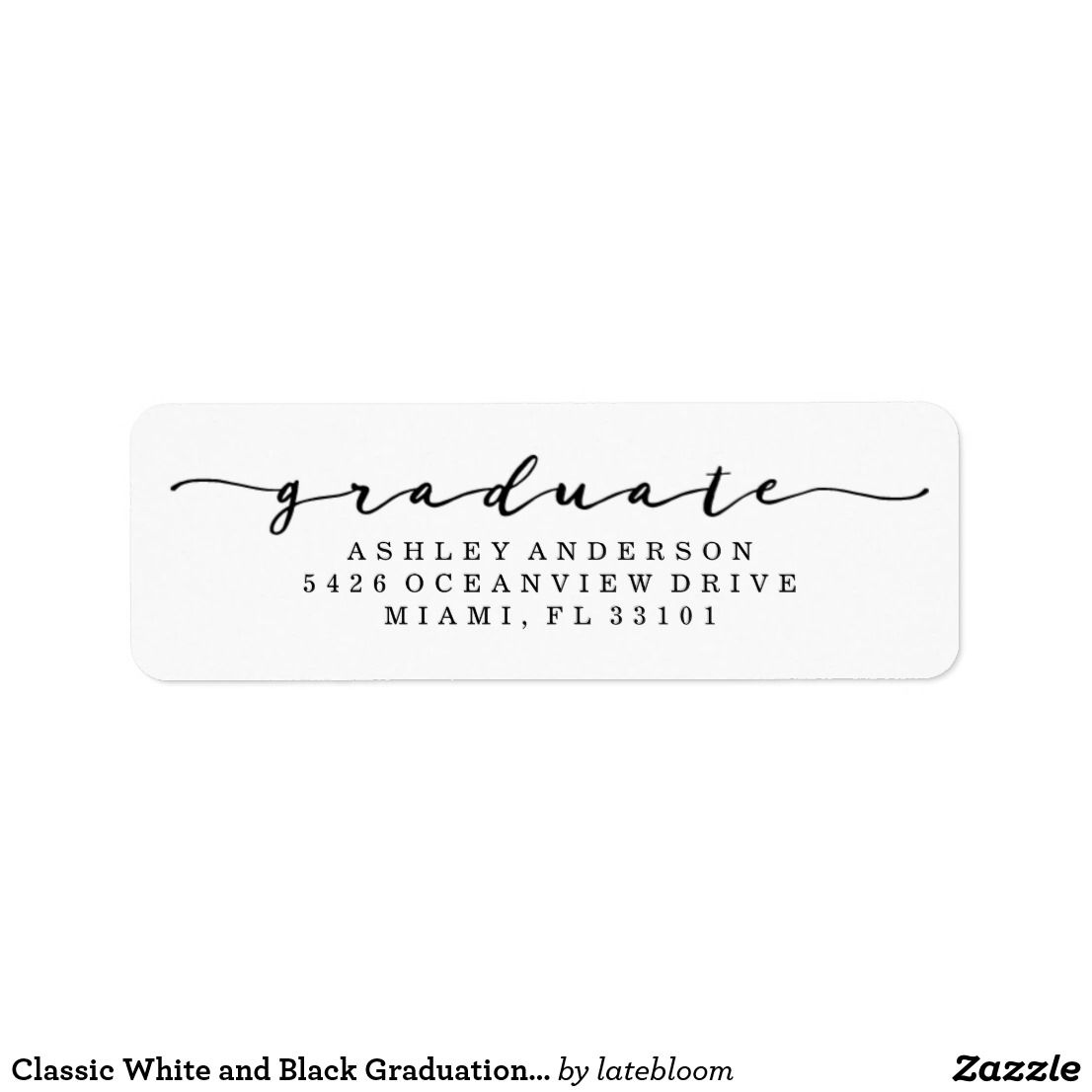 Classic White And Black Graduation Address Labels Zazzle Com Address Labels Microsoft Word Templates Classic White Graduation return address labels templates