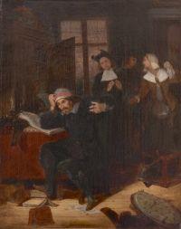 """""""Don Quijote en su biblioteca"""" Óleo sobre lienzo de Eugène Delacroix, pintado en 1824. Tokyo Fuji Art Museum."""