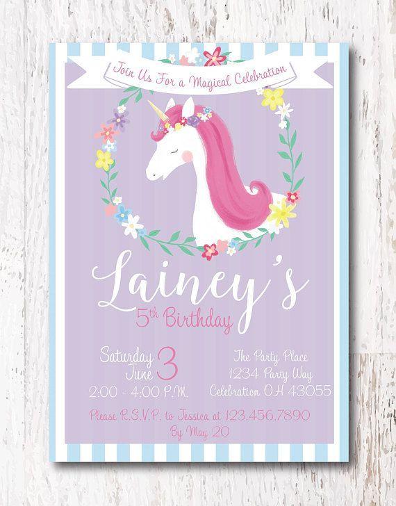Unicorn Party Invitation Etsy Etsyshop Etsyfinds Birthday Birthdayparty Birthdayinvitations Unicornparty Unicorninvitation