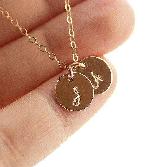Initial Necklace, Gold Filled, TWO Initial Charms, Personalized Necklace, Hand Stamped, Initial Disc, Mother's Necklace, Dainty Necklace on Etsy, Sold