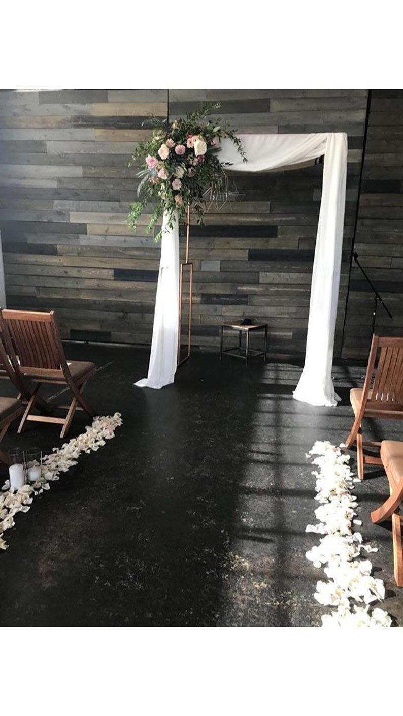 Dusty Rose and Burgundy Wedding Arch Chiffon Panels