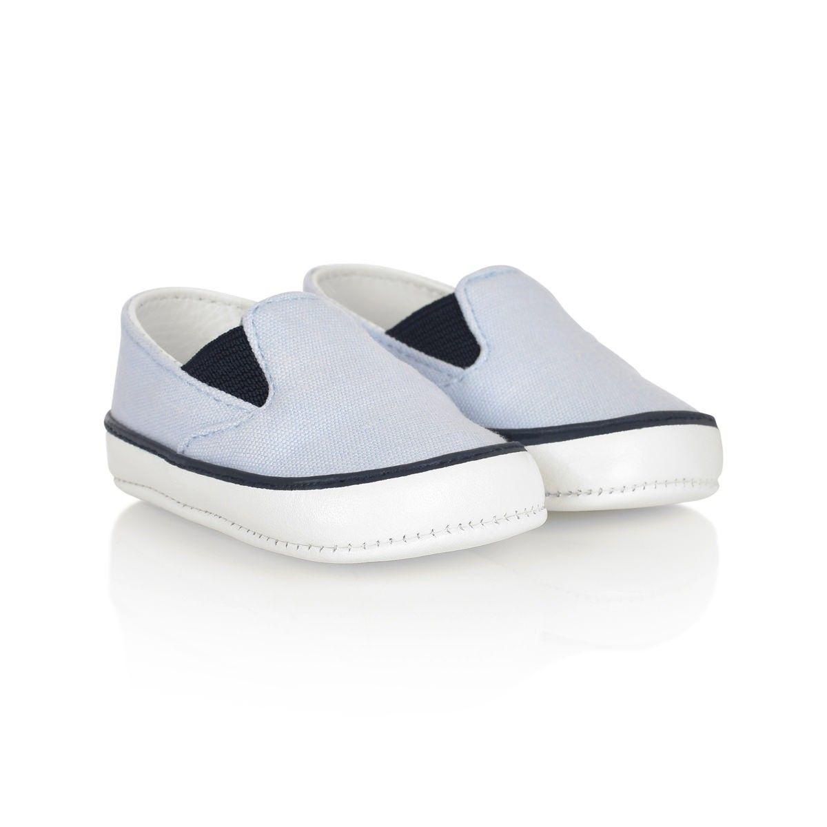 40d0ff068518 BOSS Baby Boys Pale Blue Canvas Slip On Pre Walker Shoes