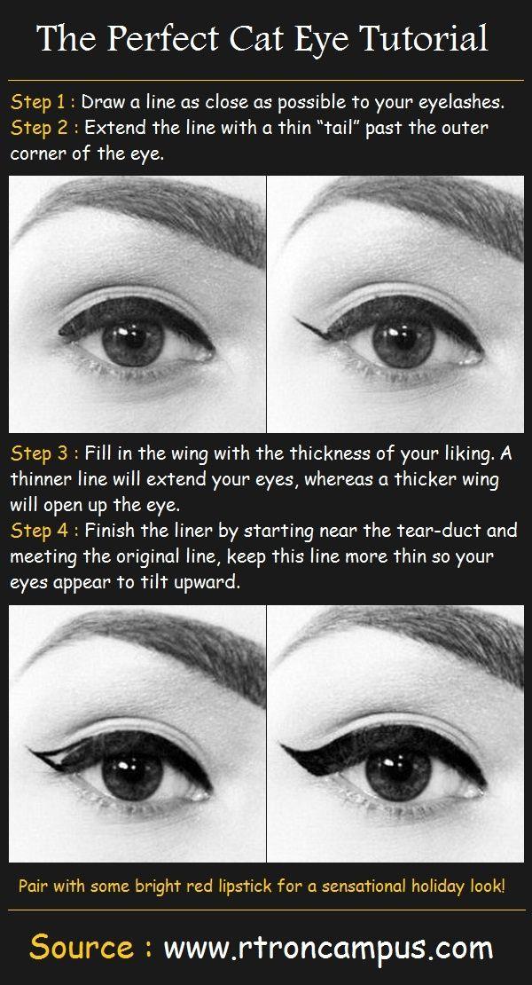 15 Easy Hacks For Perfect Eyeliner Winged Liner Pinterest Cat