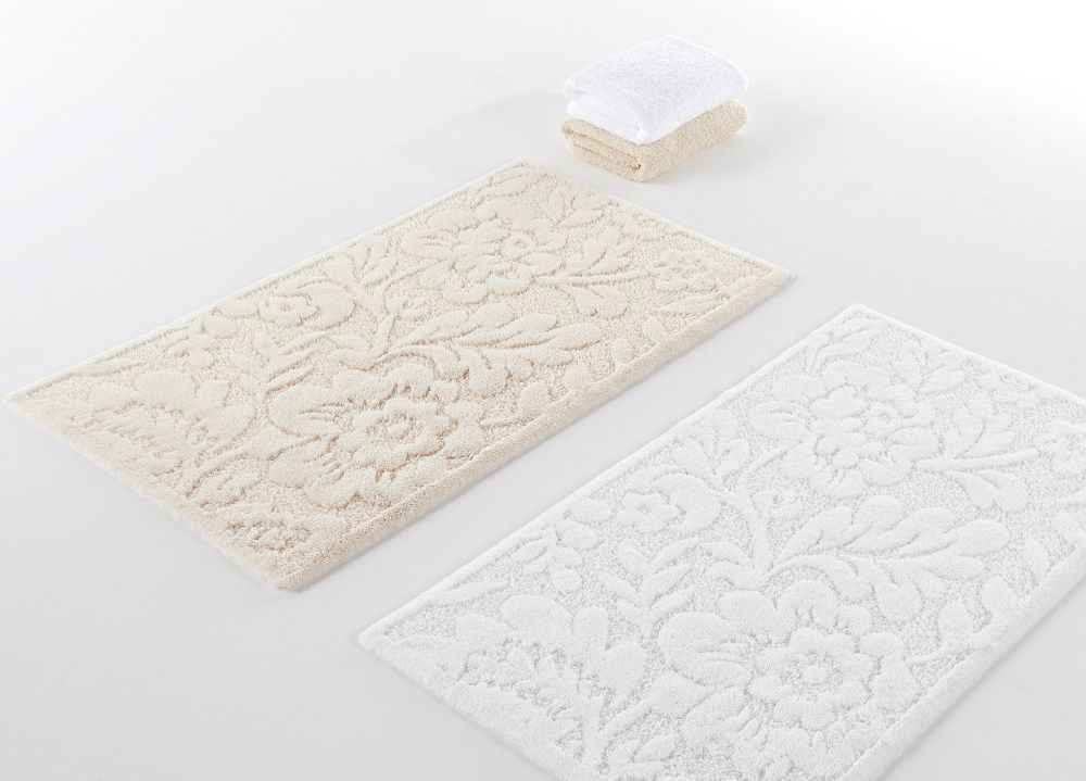 Abyss Habidecor Brighton Sculpted Floral Bath Mat Rugs in White  Ecru or  Aqua Blue. Abyss Habidecor Brighton Sculpted Floral Bath Mat Rugs in White