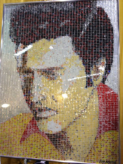 This is made from little pieces of cut up soda cans