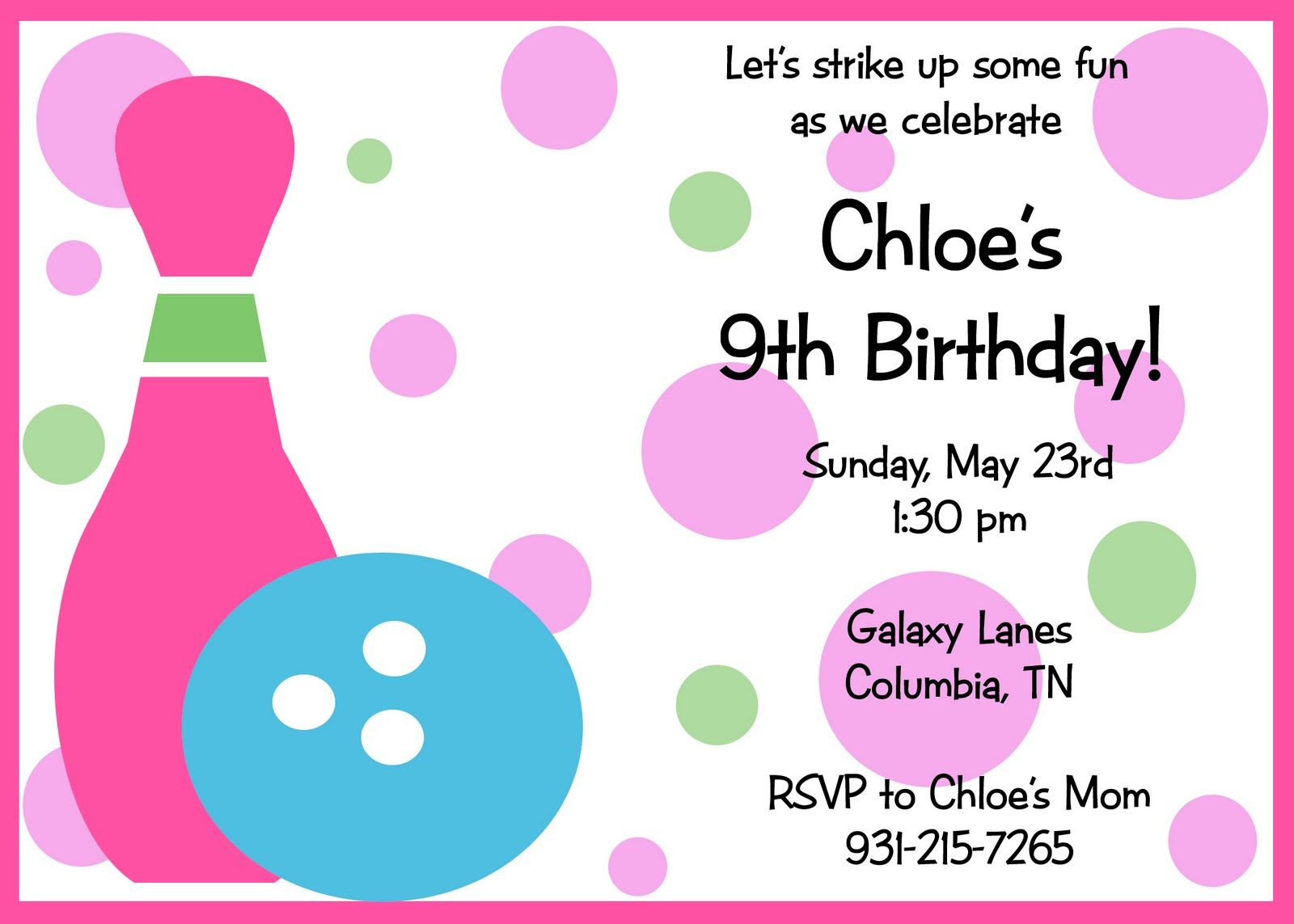 Get free template free bowling birthday party invitations baby get free template free bowling birthday party invitations filmwisefo Image collections