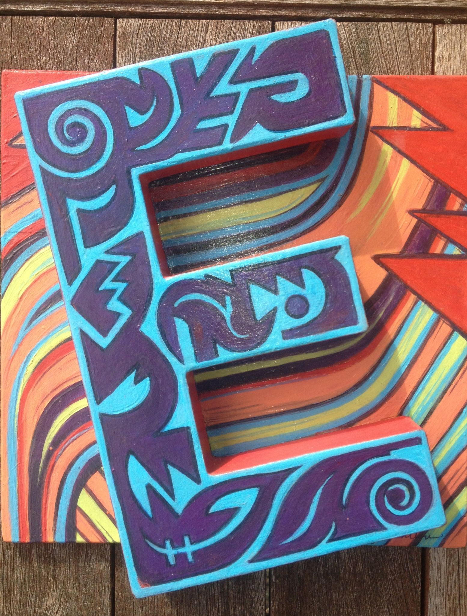 Alphabet Letter E Painted By Katy Bratun Paper Mache Letter Glued To Recycled Wood Board Acrylic Paint Alphabet Art Alphabet Design Lettering Alphabet