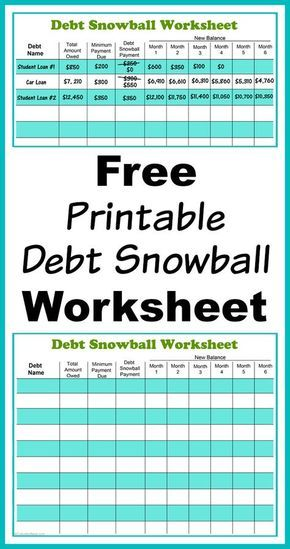 Free Printable Debt Snowball Worksheet- Pay Down Your Debt! Debt