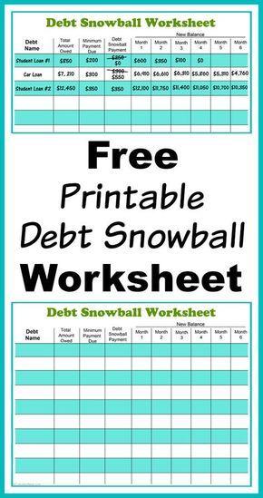 Free Printable Debt Snowball Worksheet- Pay Down Your Debt! | Debt ...