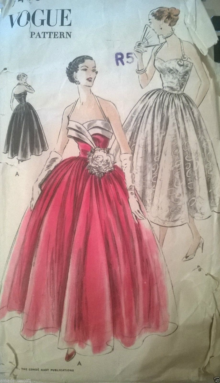 Vintage 50\'s VOGUE Sewing Pattern EVENING*WEDDING*PROM*BALL GOWN ...