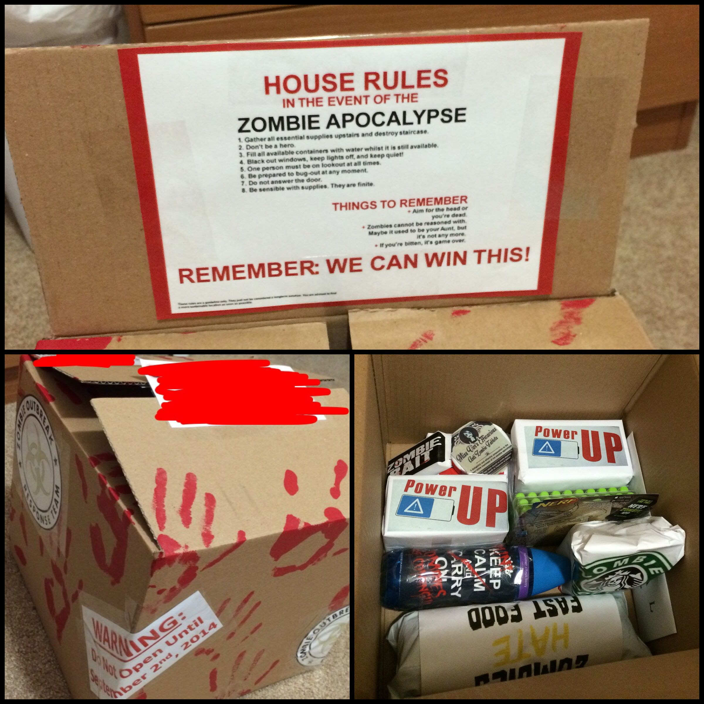 Care Package: Zombie Survival Kit INCLUDES: -Survival Guide For Zombie Outbreak -Permit To Kill