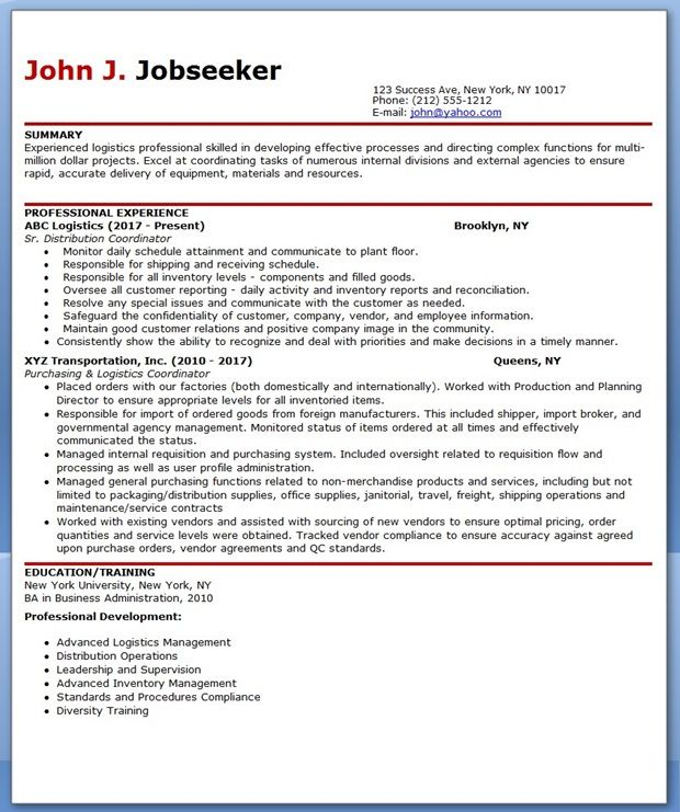 Logistics Professional Resume Format  Creative Resume Design