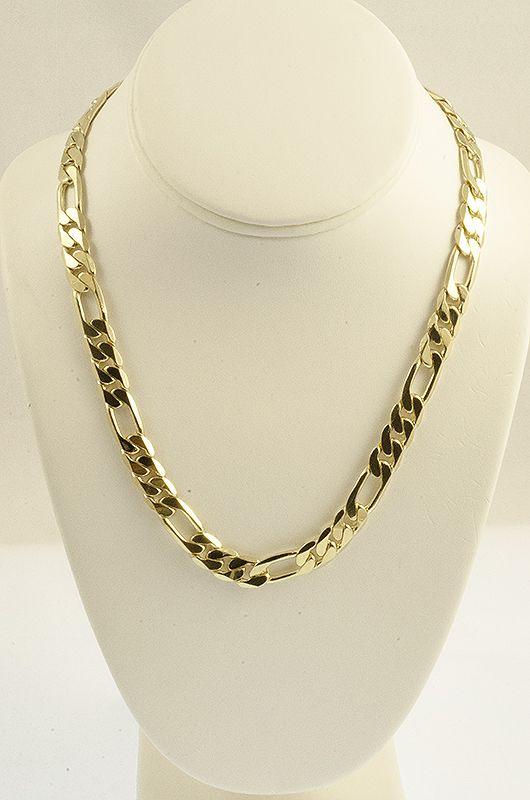 18 KT Gold Figaro Chain Bracelet 9mm 24kJewelry chain watch