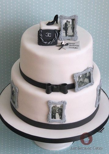 Black And White Birthday Cake With Edible Image Photo Frames
