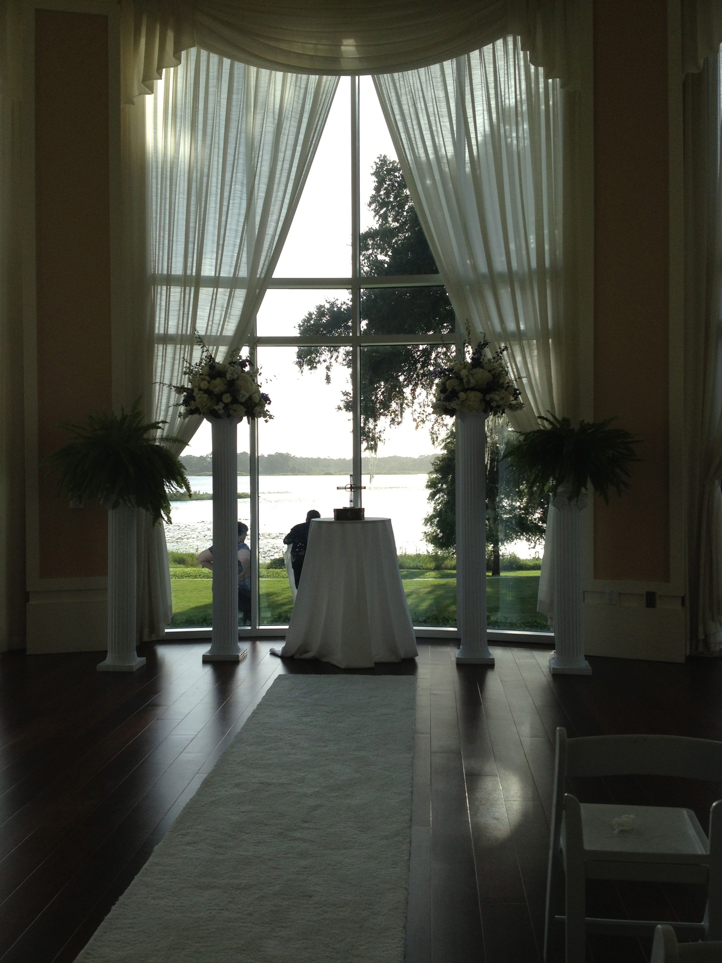 Columns ivory fabric uplighting wedding ceremony downtown double tree - Roman Columns With Flowers And Ferns Roman Columnsromansfernsfloral Arrangementswedding Ceremonyreceptionsbouquetsdecorflowers