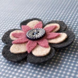 IXORA  felt brooch with nacre button by debonweb on Etsy, €9.50
