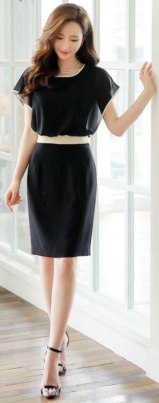 StyleOnme_White Trim Chiffon Dress #black #elegant #summer #look #pretty #koreanfashion #dress