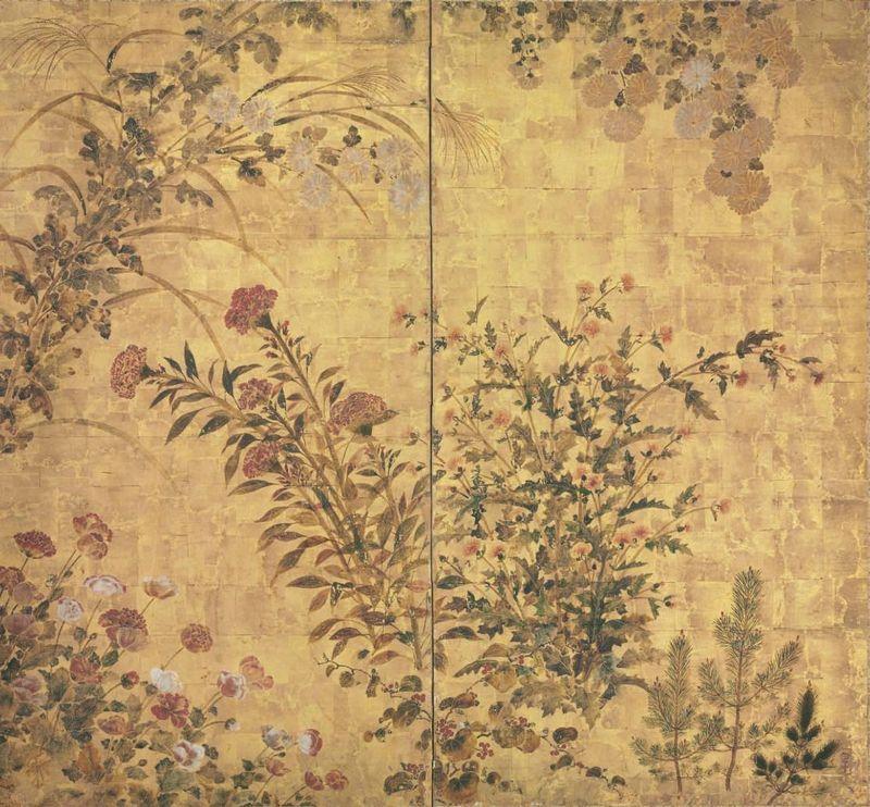 Studio of Tawaraya Sotatsu (17th Century), Grasses and flowers