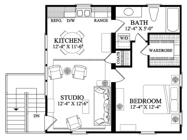 Traditional Style House Plan 1 Beds 1 Baths 646 Sq Ft Plan 137 368