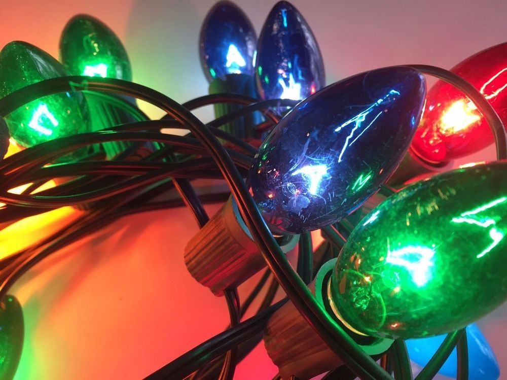 Vintage outdoor christmas light strand 25 ft old school multi vintage outdoor christmas light strand 25 ft old school multi color tested works aloadofball Image collections
