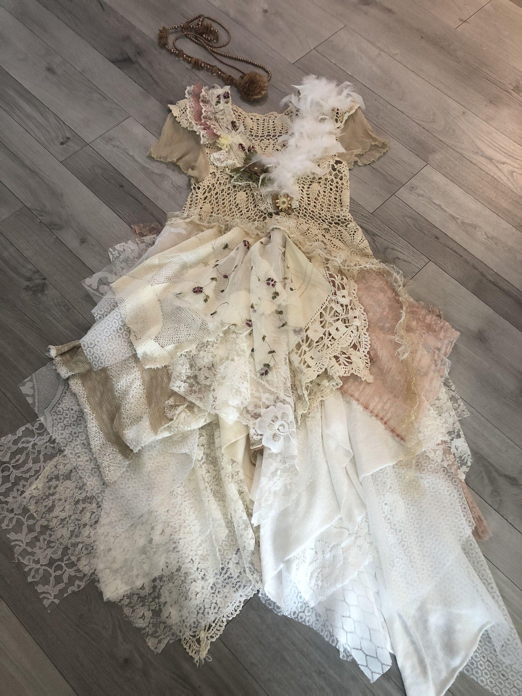 Handmade Mixed Media Fabric Collage Wearable Art Etsy Fairy Dress Festival Dress Crochet Dress [ 3000 x 2250 Pixel ]