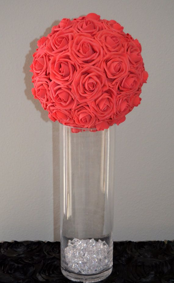 Red quot luxury elegant wedding foam flower ball by