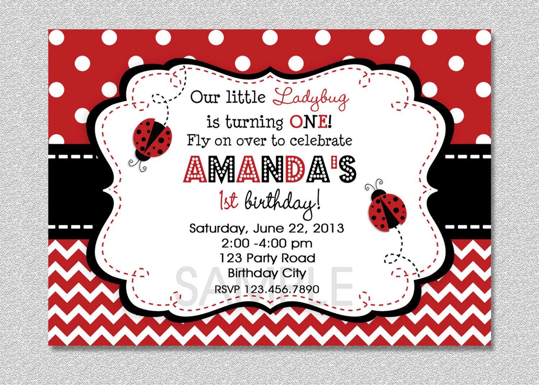 Ladybug Birthday Invitation, Red Ladybug Invitation, Ladybug 1st ...