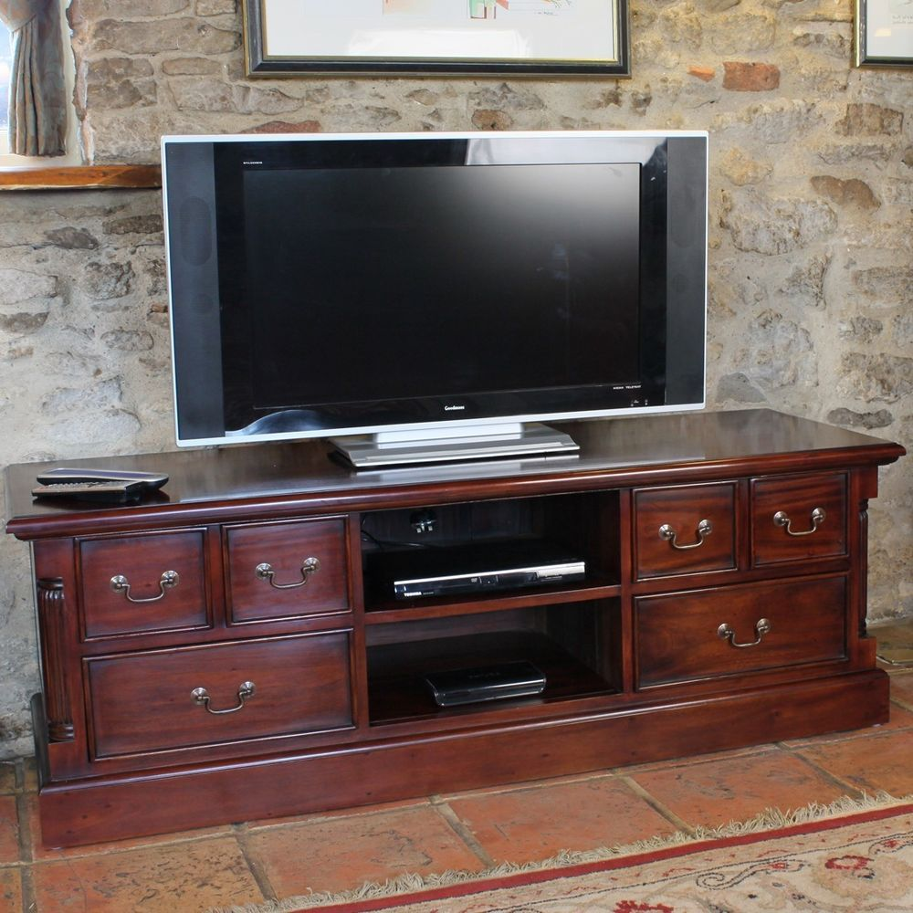 Mahogany Tv Stand Wood Drawers Shelves Storage Living Room Furniture Cabinet