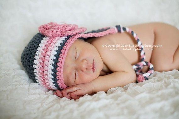 Crochet Hat Pattern Newborn Crochet Hat Earflap Beanie with Triple ...