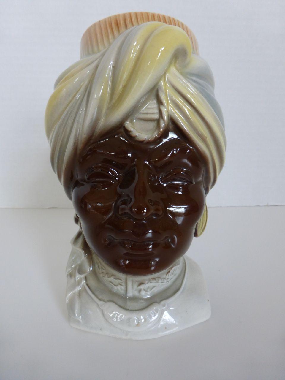 Royal Copley Blackamoor Head Vase Wall Pocket.