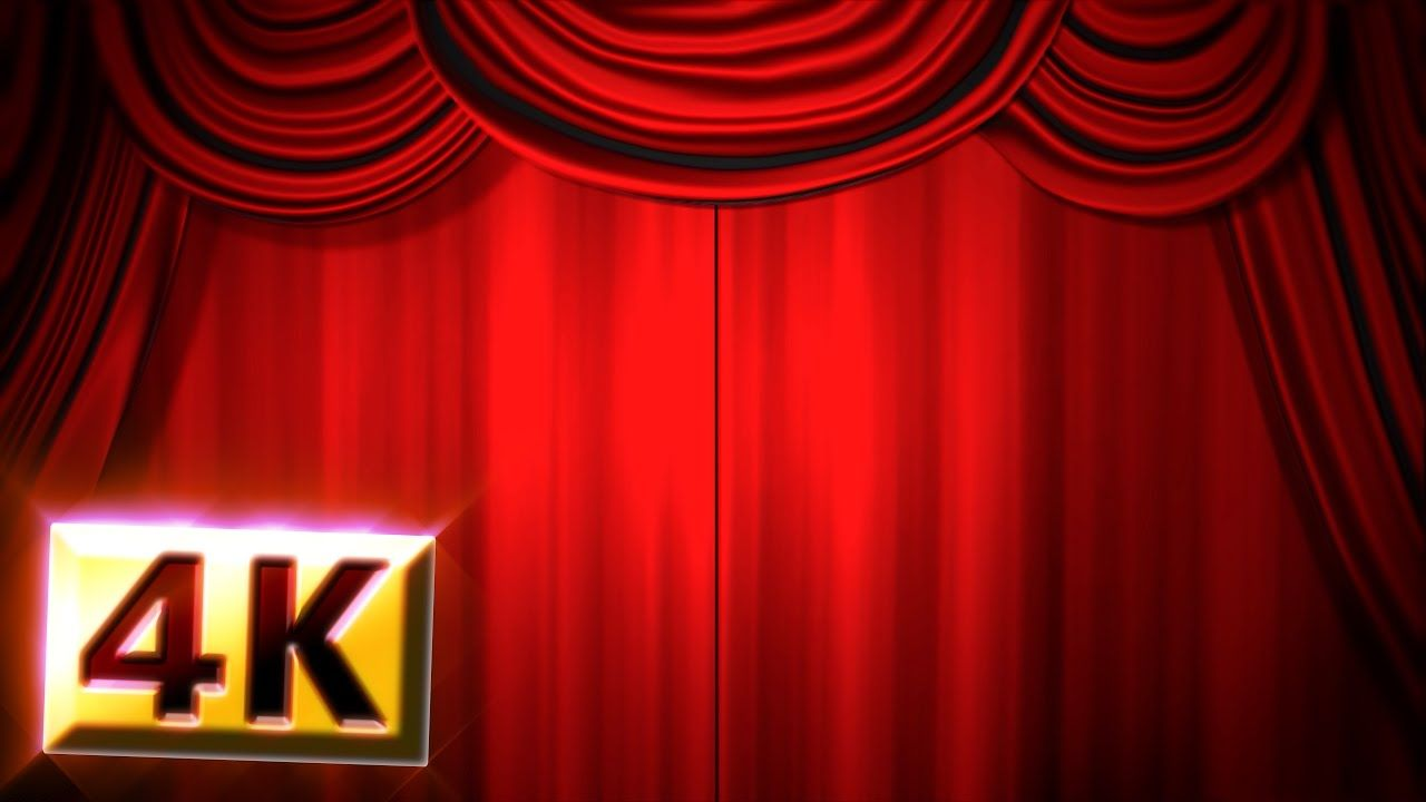 Free Stock Footage 4k Red Stage Curtain Drapes Opening