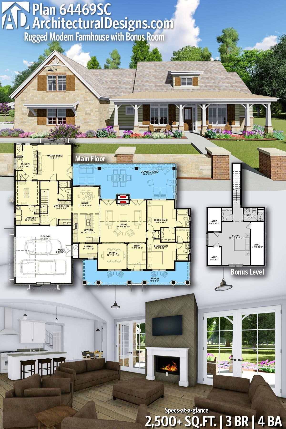 Plan 64469SC: Rugged Modern Farmhouse with Bonus Room