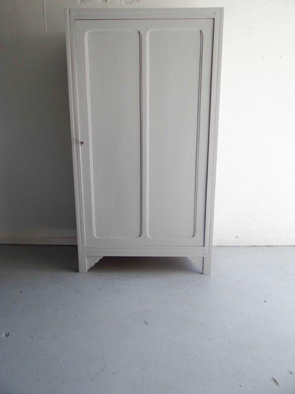 Armoire Parisienne 1 Porte Repeinte En Gris Galet Un Gris Pale