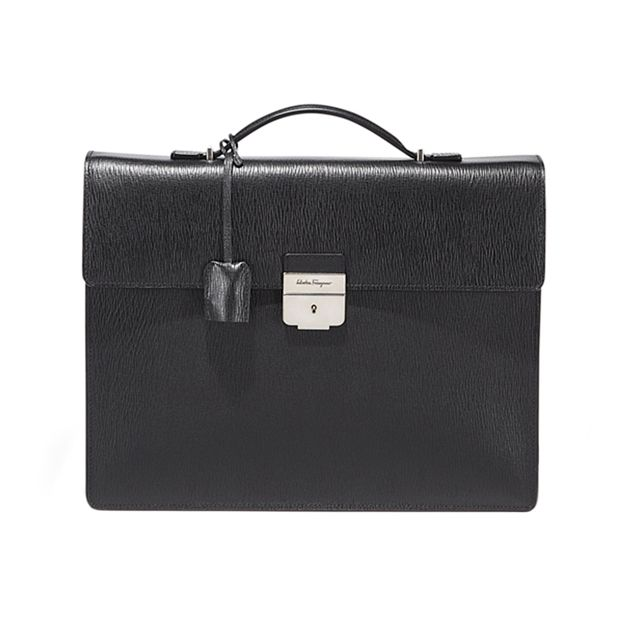 POP SHOP | SALVATORE FERRAGAMO  - Slim briefcase with interior padded tablet sleeve and lock closure with key accessory in black embossed calfskin.