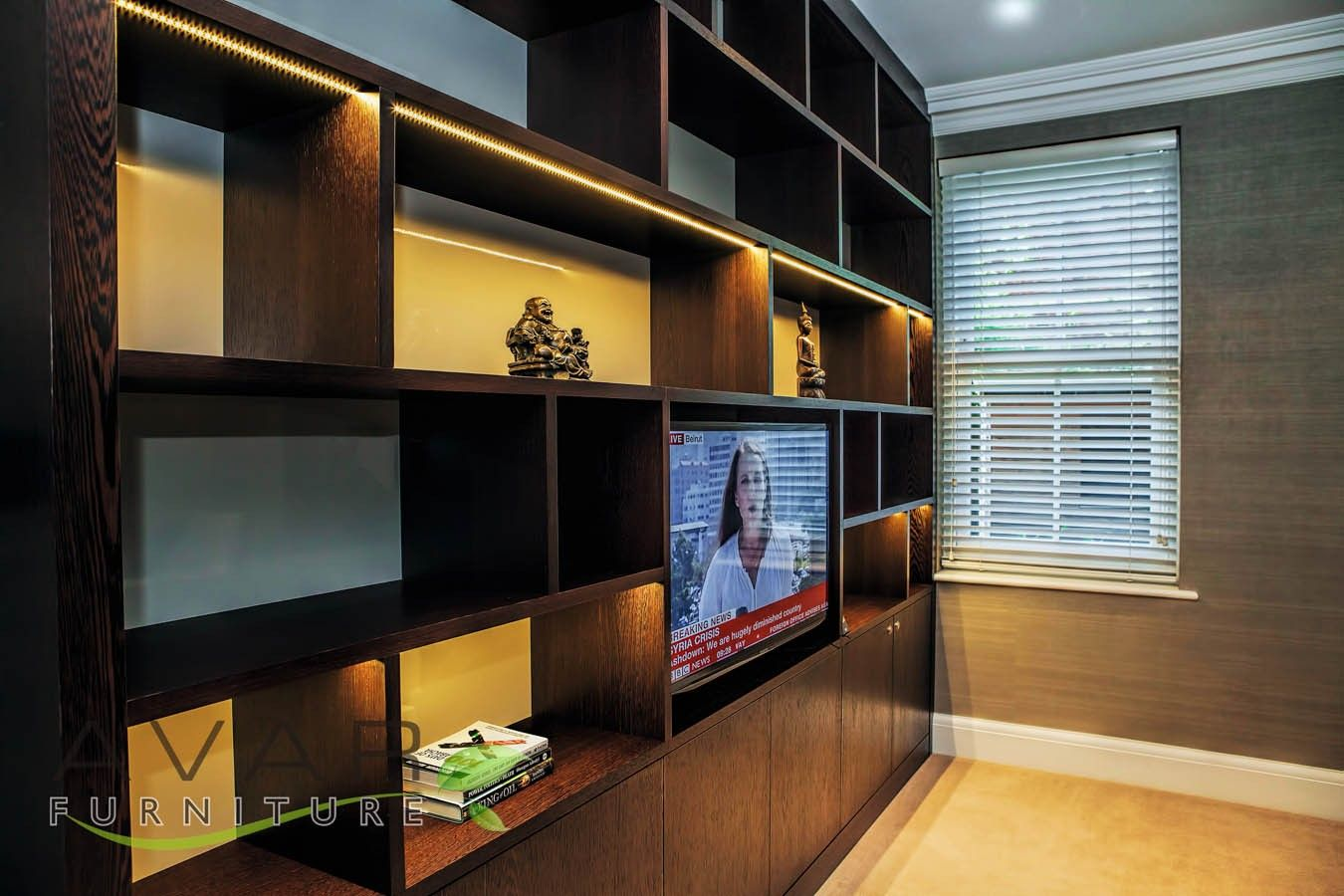 Floor to ceiling entertainment unit from Avar Furniture