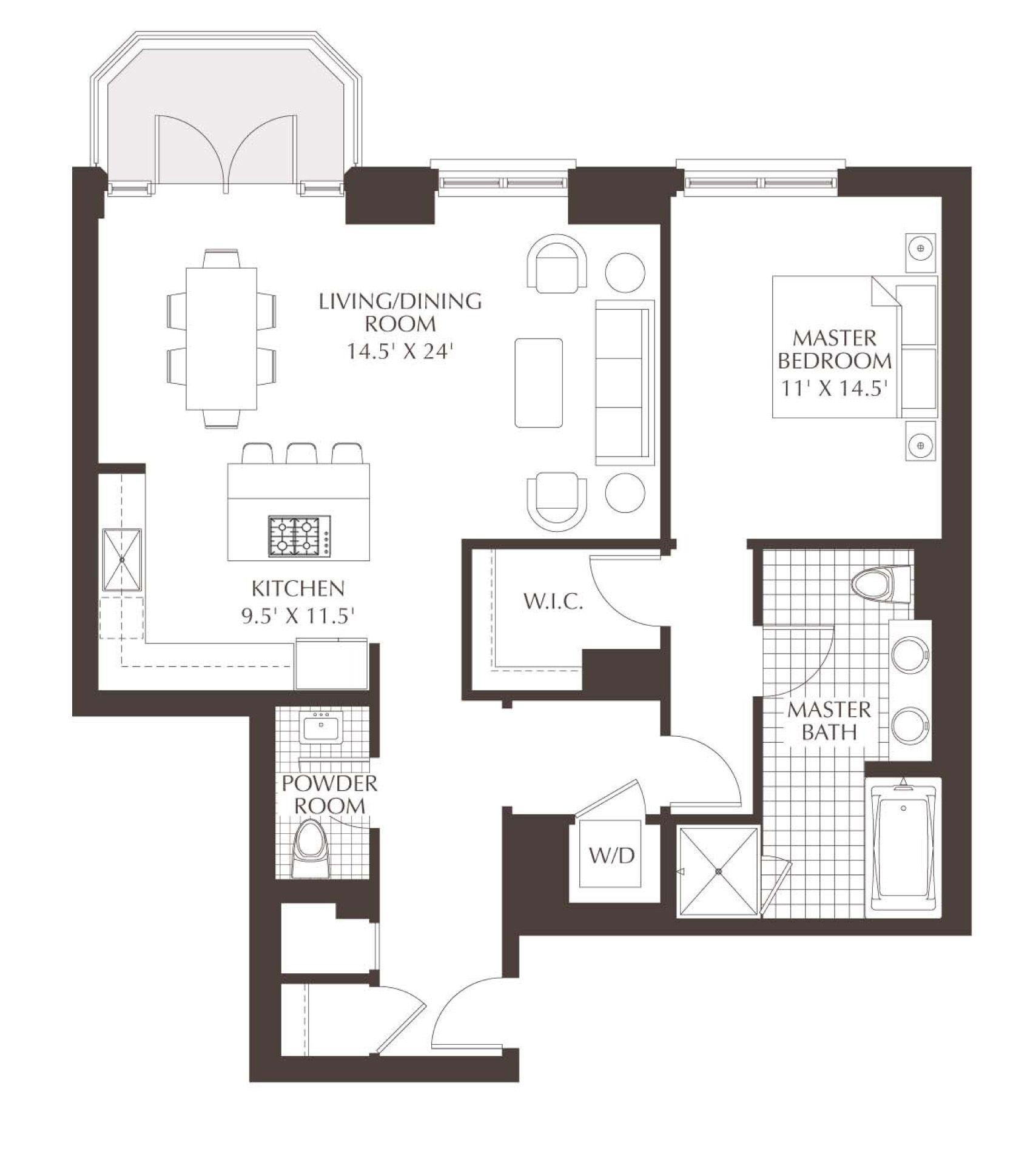 Luxury Condo Floor Plans | Unit A3: A 1 bedroom, 1/5 bath ...
