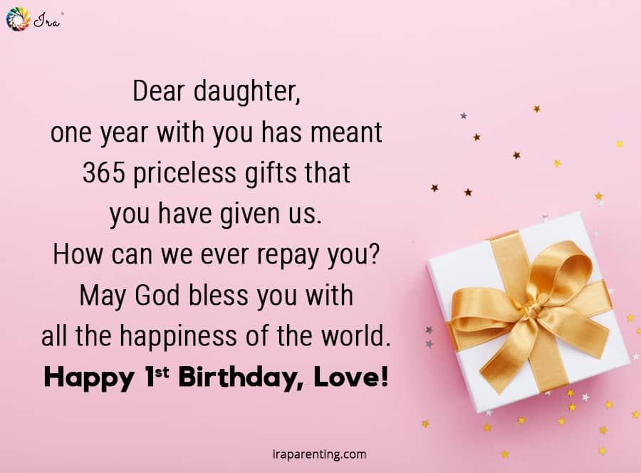 1st Birthday Wishes For Baby Girl Ira Parenting 1st Birthday Wishes Birthday Message For Daughter Birthday Wishes For Myself