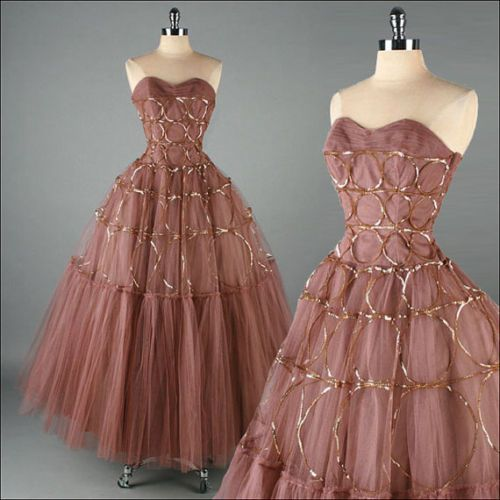 Genuine hollywood glamour bronze dress eBay 1950s | Dresses & Gowns ...