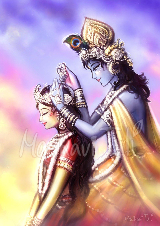 Hd Shri Krishna Decorating Beautiful Hair Of Shri Radha Hd Etsy Radha Krishna Art Krishna Art Lord Krishna Wallpapers