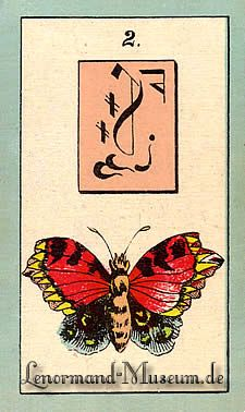 The Butterfly, by the Lenormand Fortune Telling Cards with mystic symbols