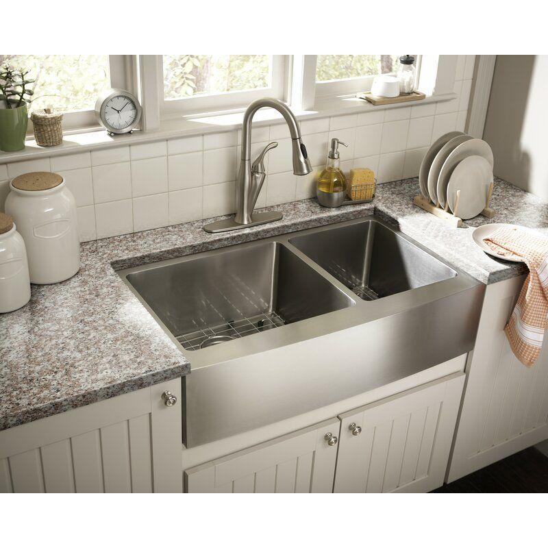 36 l x 21 w double basin farmhouseapron kitchen sink