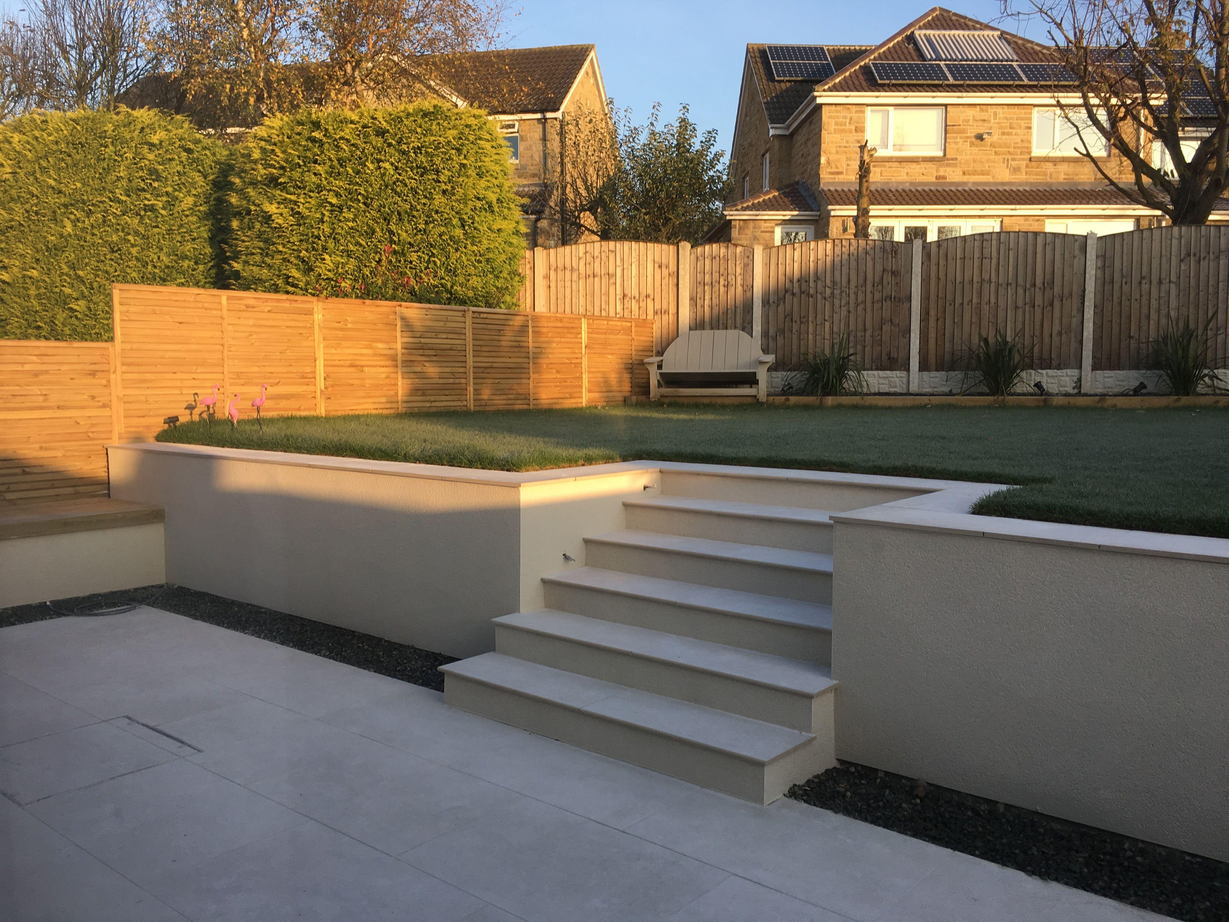 Modern split level garden | rendered garden walls ... on Split Level Backyard Ideas id=87564