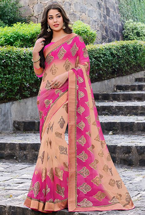 Plush Peach and Deep Pink Sari
