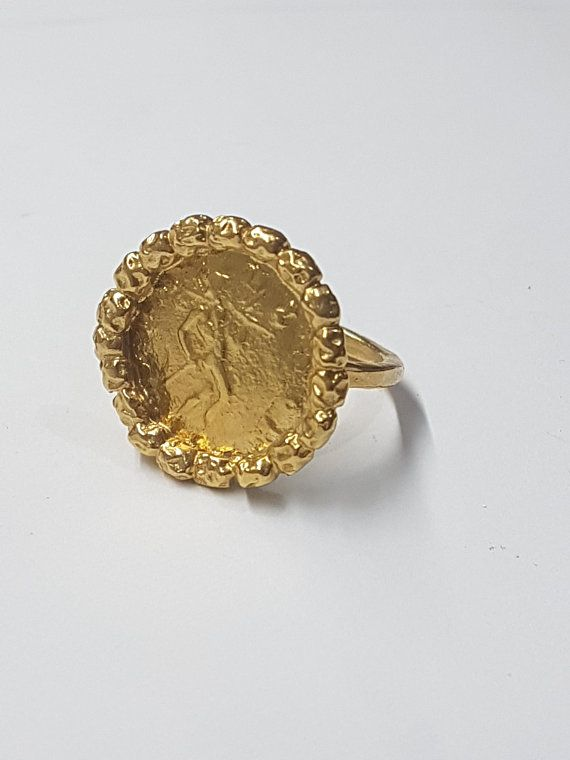 e4ab726df8694 Antique coin ring, gold coin ring, cocktail ring vintage, antique ...
