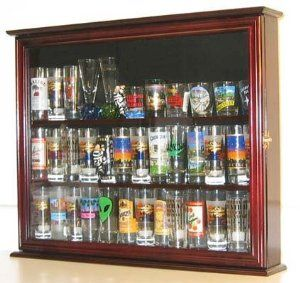 Wall Mounted Curio Cabinet Sports Shot Gl Display Case Solid